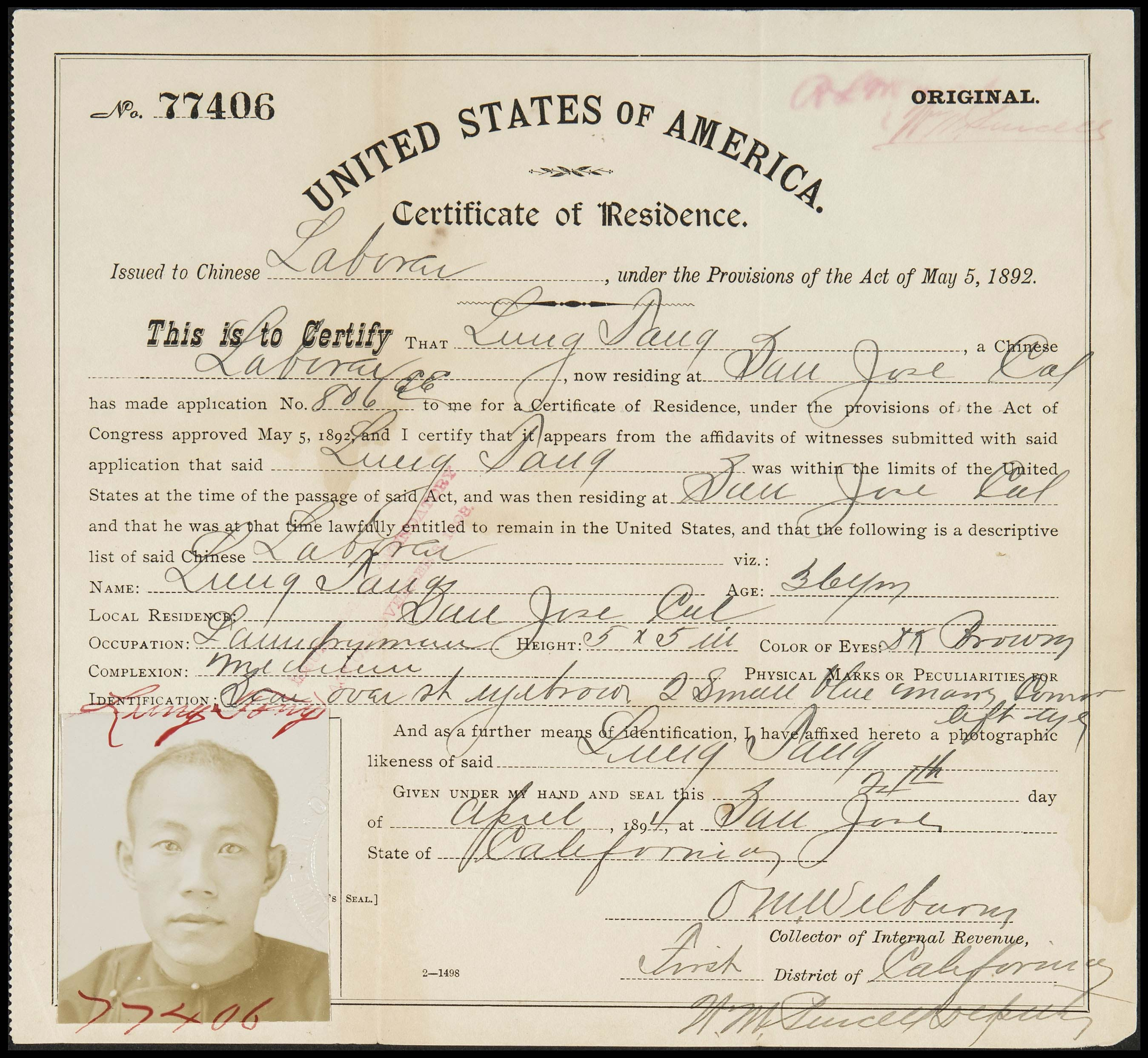 Certificates of Residence for Chinese Laborers, 1894. Copyright California Historical Society