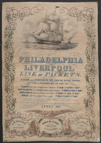Philadelphia and Liverpool Line of Packets. Copyright Liverpool Record Office