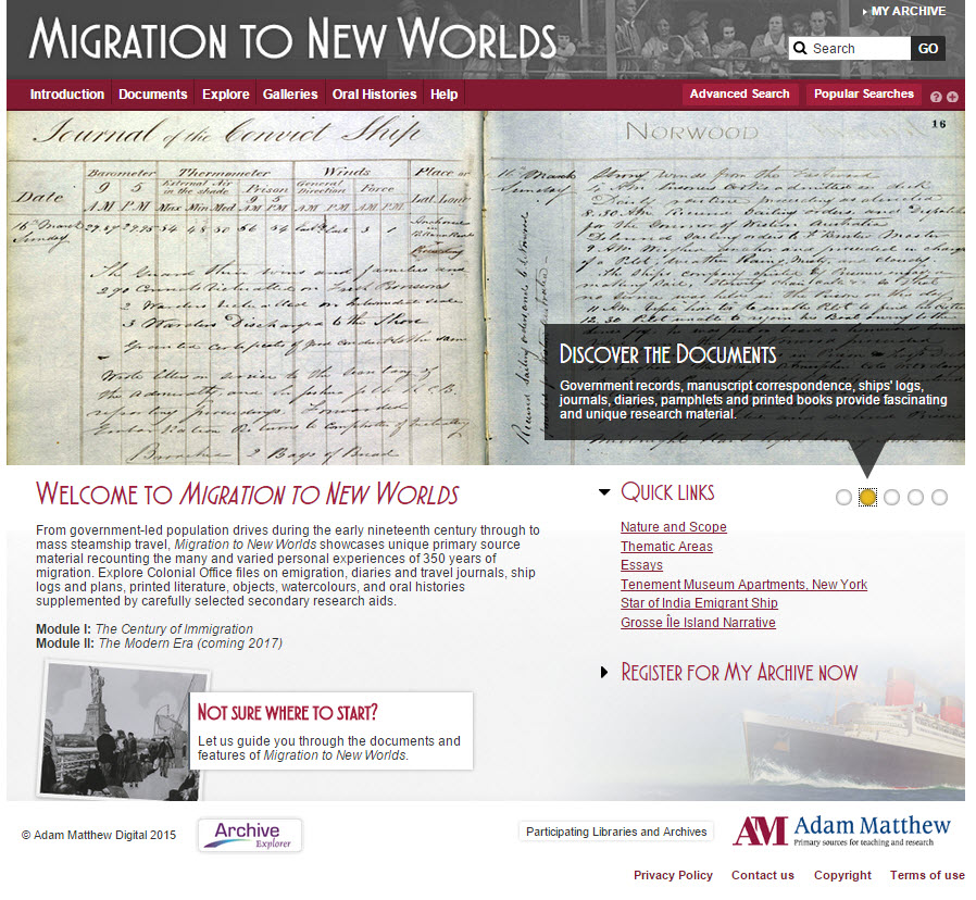 Screenshot of the Migration to New Worlds homepage.